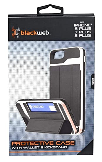 lowest price c81e7 aa964 Amazon.com: Black Web Protective CASE with Wallet & Kickstand: Cell ...