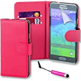 Connect Zone® Samsung S5 mini (SM-G800F) Pink Premium PU Leather Flip Wallet Case Cover Pouch + Screen Protector With Polishing Cloth And Mini Stylus