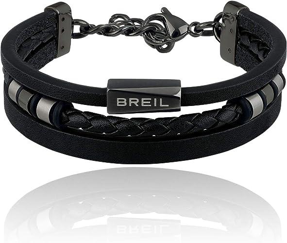 Bracciale da uomo breil outer tj2668  bracciale in pelle nera con elementi in acciaio -