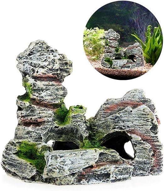 GLANGYU Acuarios El Tanque del Acuario Ornamento del jardín de rocalla de Mountain View Rock Cave Piedra pez de Acuario decoración del árbol de Accesorios (Color : 1, Size : S): Amazon.es: