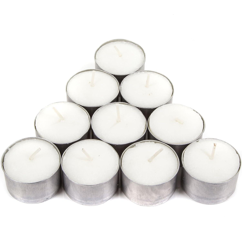 10x Deep Tea Light Candles - Long 8 Hours Large Burning Time - Table Nightlights White Hinge