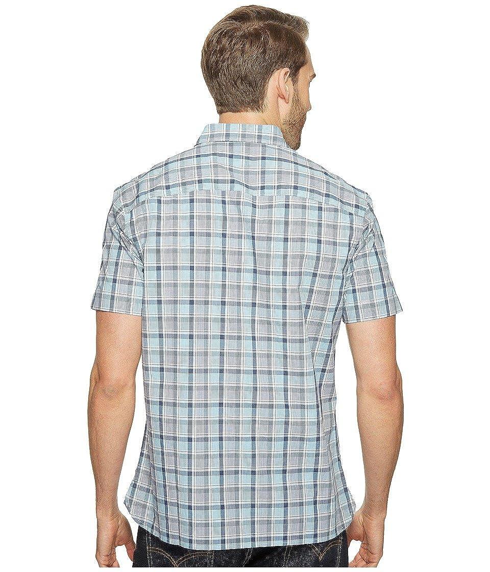 Perry Ellis Mens Highlight Plaid Shirt Bijou Blue Button-up Shirt