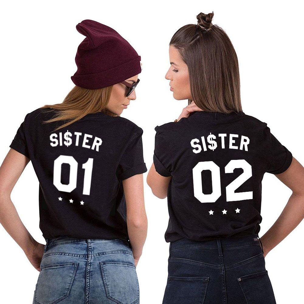 3621a553ec Mejores Amigas Camiseta Best Friend T-Shirt 2 Piezas 100% Algodón Impresión  Sister 01