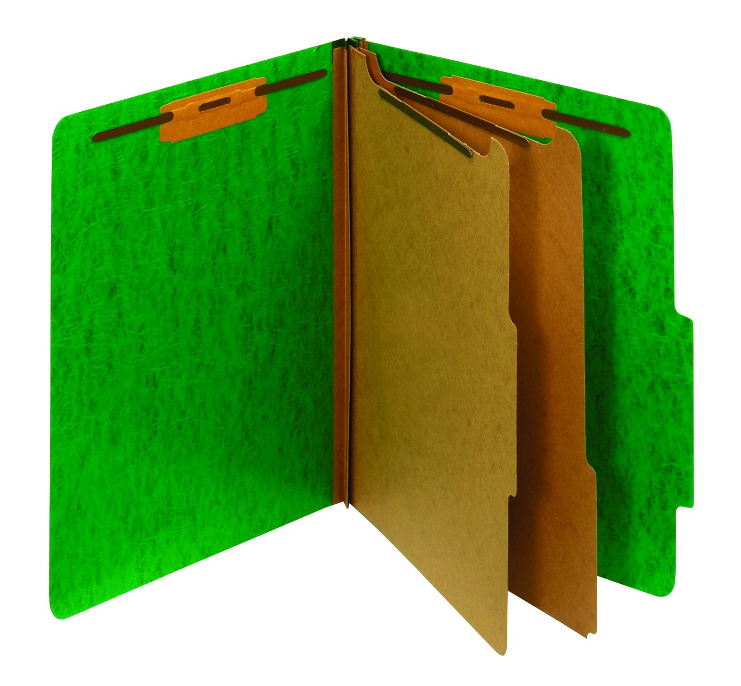 Staples Moisture-Resistant Classification Folders, Letter, 2 Partitions, Green, 10/Pack