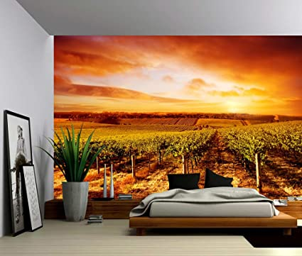 Picture Sensations Canvas Texture Wall Mural Landscape Vineyard Sunset Winery Self Adhesive Vinyl