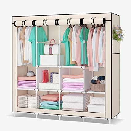 Etonnant UDEAR Portable Clothes Closets Wardrobes Storage Organizer With Shelves And  Side Pockets, Beige