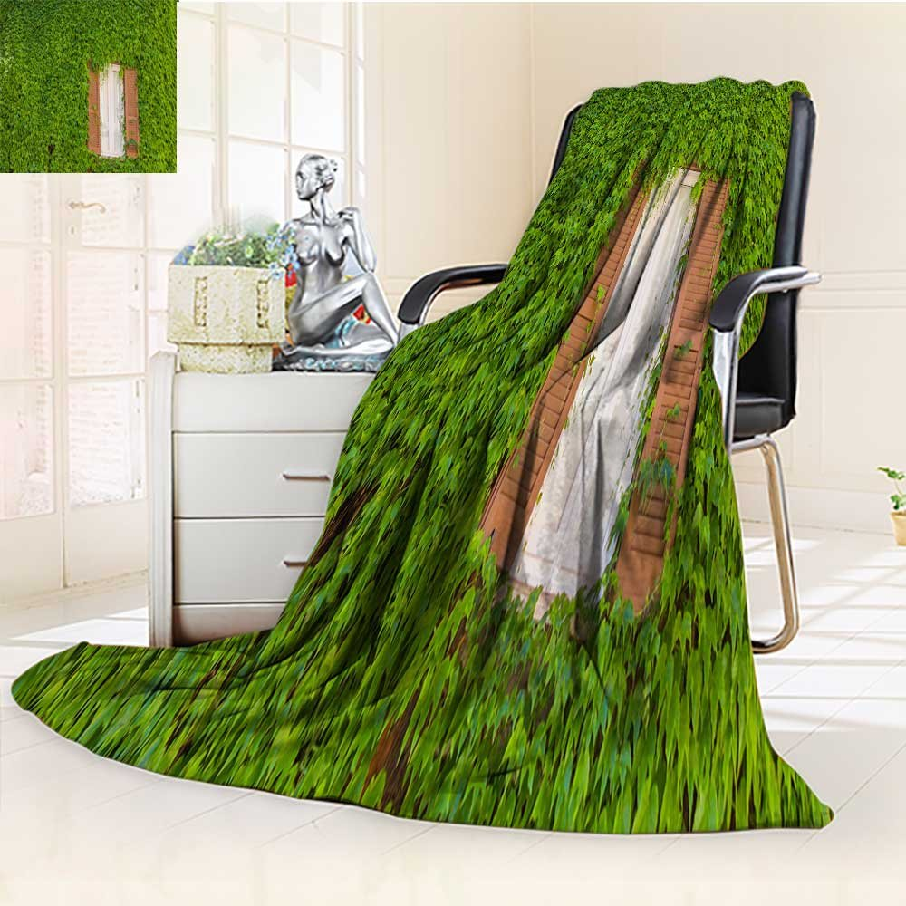 YOYI-HOME Super Soft Duplex Printed Blanket Green Plants Crawling Through The windowsill Warm Microfiber All Season Anti-Static,2 Ply Thick,Hypoallergenic/79 W by 47'' H