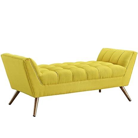 modway response midcentury modern bench medium upholstered fabric in sunny