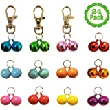 Cat Collar Bells, 24-Pack, Dog Collar Bells, Loud Or Soft, Pet Bells For Potty Training, Colors (Red, Blue, Orange, Green, Pink, Purple) Matching Collars, Bemix Pets
