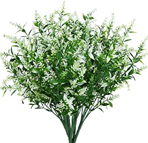 KLEMOO Artificial Lavender Flowers Plants 8 Pieces, Lifelike UV Resistant Fake Shrubs Greenery Bushes Bouquet to Brighten up Your Home Kitchen Garden Indoor Outdoor Decor(White)