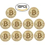 zcccom Bitcoin Coin Deluxe Collector's Set | Featuring the Limited Edition Original Commemorative Tokens Each Coin Comes w/ a Plastic Round Display Case (10 pcs Gold)