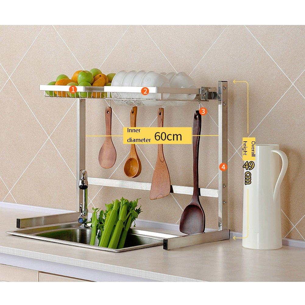 LXLAダブルレイヤーキッチンシェルフフック付きシンクドレインラックシングルレイヤー用品ディッシュチョッピングボード野菜フルーツ収納ラック304ステンレス63/83×49 / 80cm ( 色 : Style 1 ) B07C2QBCH5Style 1