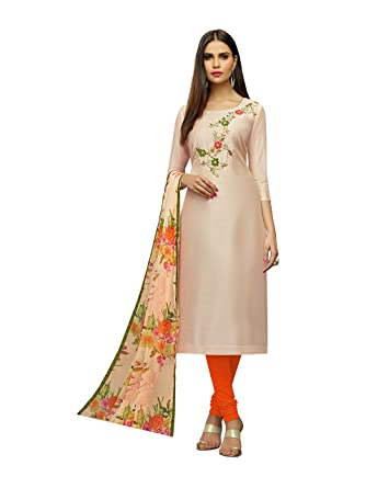 b5d1e8b35b Abeer Designer Peach Color Chanderi Cotton Fabric Embroidered Kurta and  Salwar Suit Unstitched Dress Material With Dupatta For Women: Amazon.in:  Clothing & ...