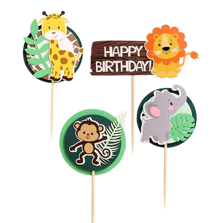 Unimall Pack of 24 Jungle Safari Animal Cupcake Toppers Picks for Kids Birthday Lion Elephant Monkey Giraffe Cupcake Decoration Old Birthday Party Decoration Celebrating Decors