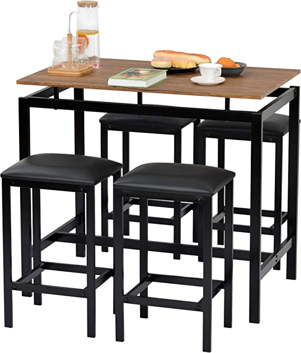 5 Pieces Bar Table and 4 Stools Kitchen Set with Padded Seat Breakfast Small Dining Table and 4 Chairs Set for 4 People Breakfast Small Dining Room