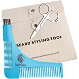 HisMane Beard and Mustache Shaping and Styling Template Tool & Comb with Scissors. Beard Shaper for the Designer Beard
