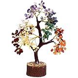 Crocon 天然愈合宝石水晶 Bonsai Fortune Money Tree 适用于 Good Luck、财富和繁荣精神礼物尺寸 10-12 英寸 Seven Chakra (Golden Wire) Size - 10-12 Inch CTR010a