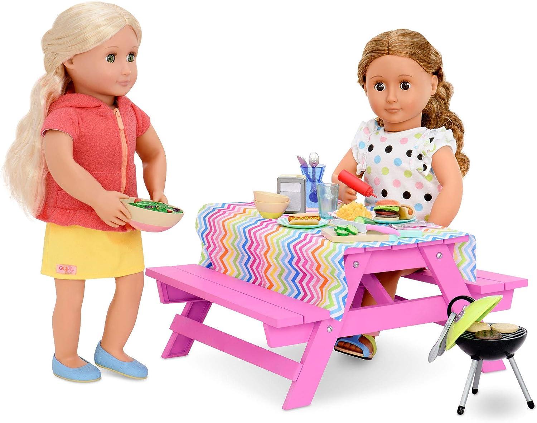 Our Generation Picknick Tisch für Puppen 46cm Picnic Table Set for Dolls, 46 cm, Multicoloured