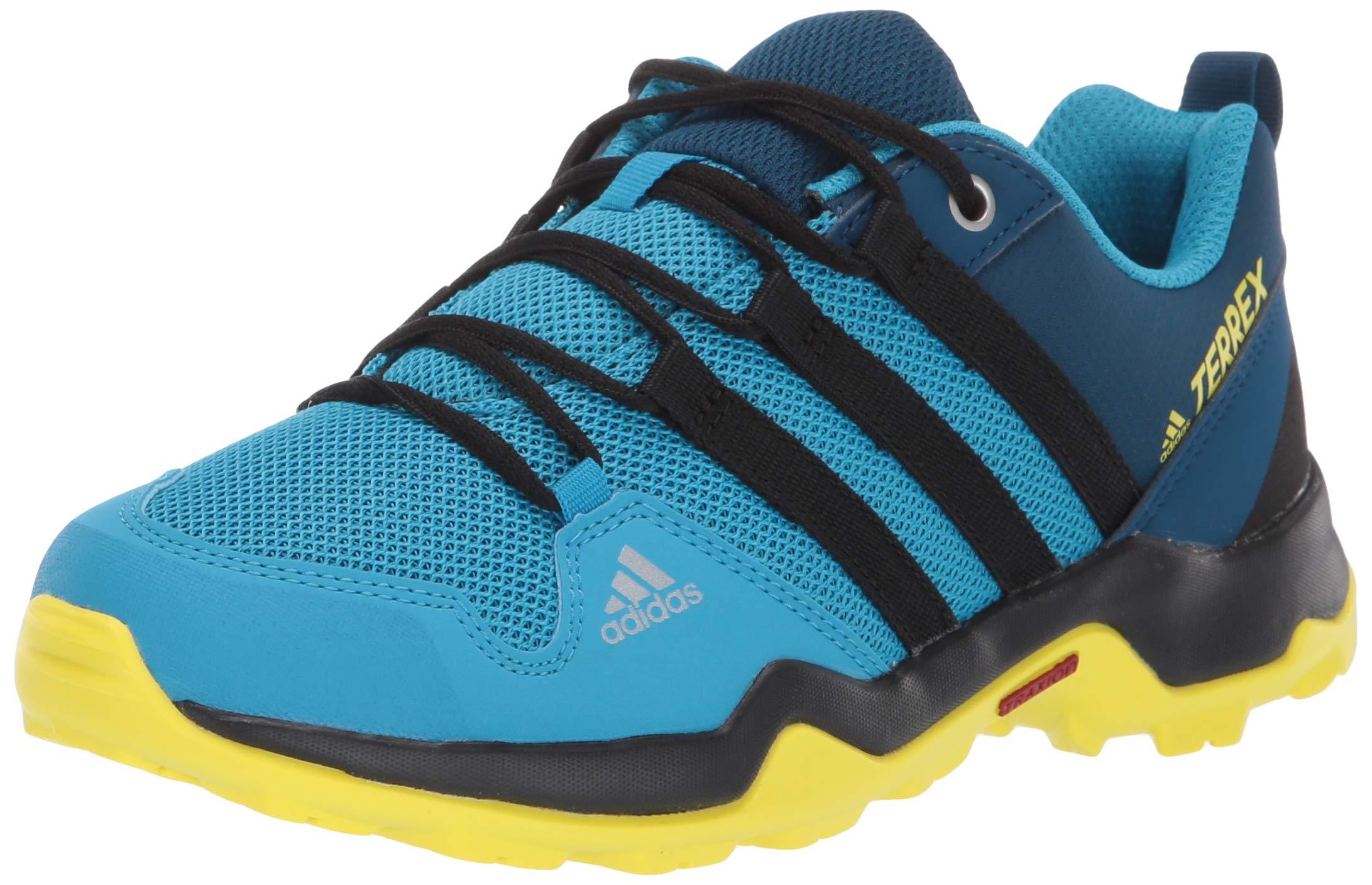 adidas outdoor Terrex AX2R Kids Hiking Shoe Boot, Cyan/Black/Shock Yellow, 4.5 Child US Big
