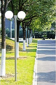tiauant Casa y jardín Iluminación Iluminación de exterior Farola blanca de jardin, 220 cm, 2 globos de luz lampara de jardin solarDiametro del bombilla: 25 cm.: Amazon.es: Bricolaje y herramientas