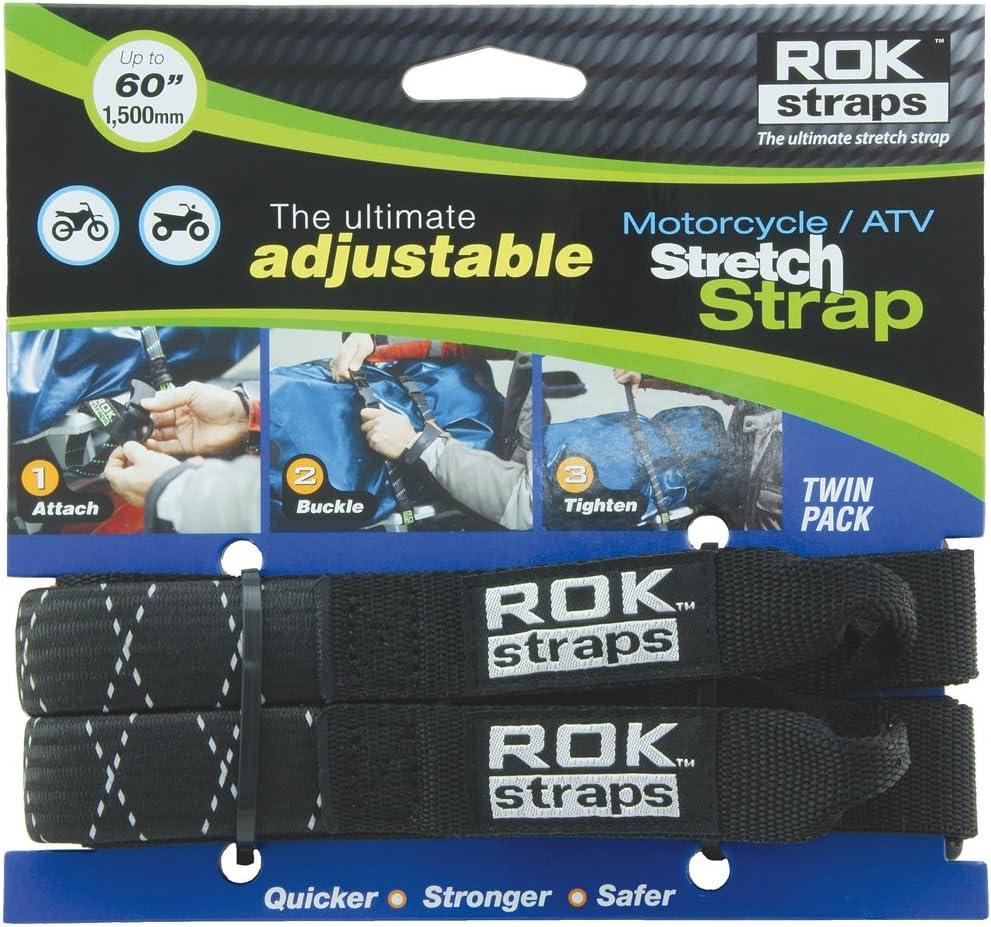 """ROK Straps ROK-10050 Black/Reflective 18"""" - 60"""" Motorcycle/ATV Adjustable Stretch Strap: Automotive"""