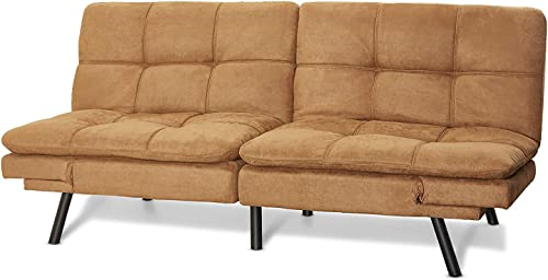 Mainstay Wooden Frame Memory Foam Split seat and Back Futon in Futon, Camel Futon, Camel Camel
