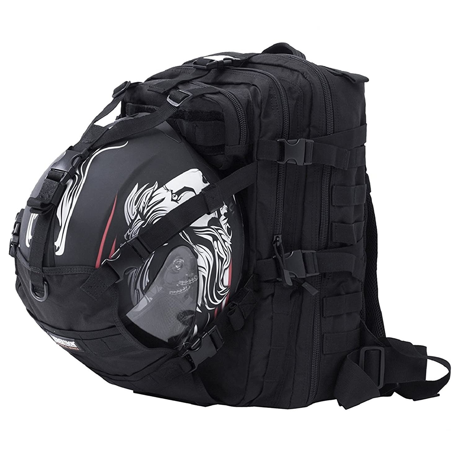 Seibertron Waterproof Large Capacity Molle Motorcycle Helmet Holder/Cycling Helmet Storage/Hiking Helmetcatch Bag/Backpack Also Fit Basketball Football Soccer Backpack Black Shenyang Seibertron E-Commerce Co. Limited