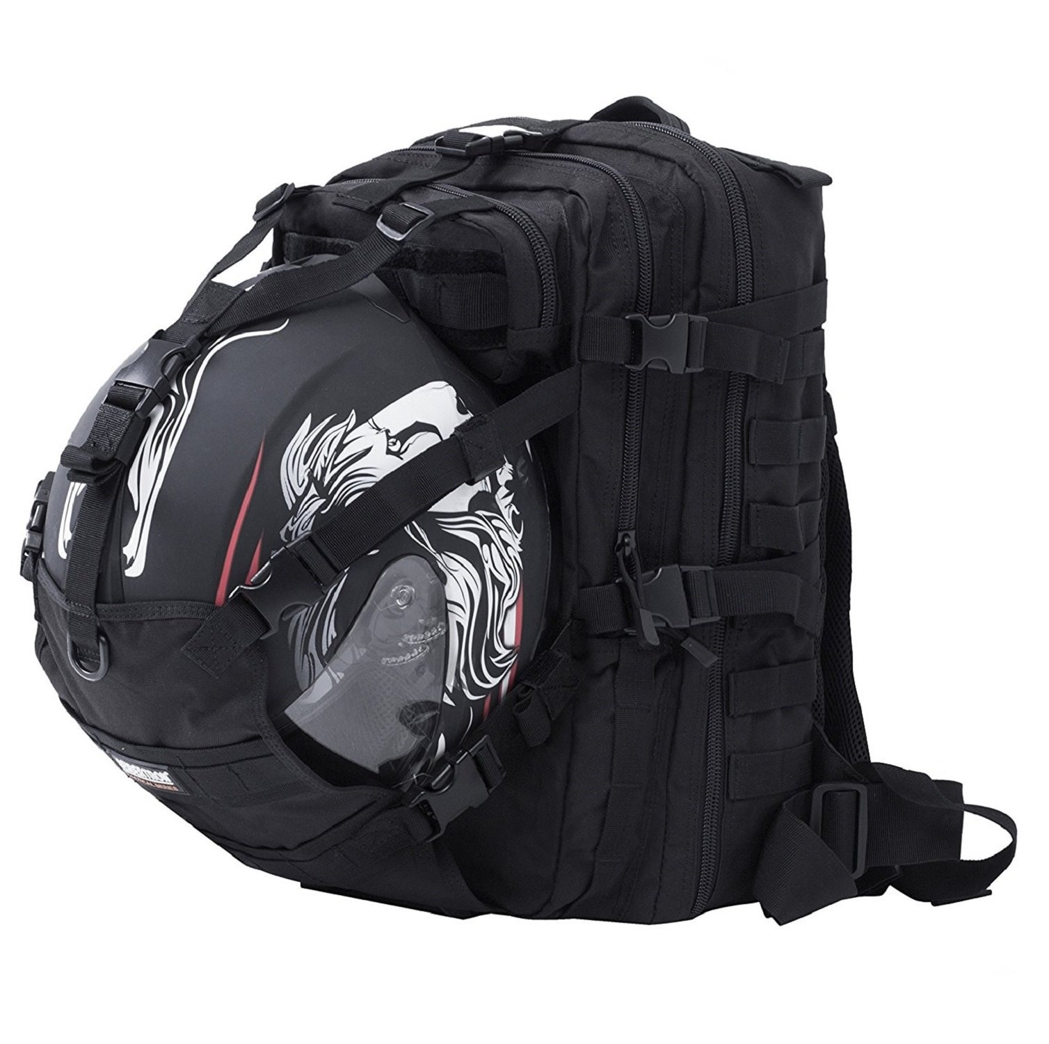 Seibertron Waterproof Large Capacity Molle Motorcycle Helmet Holder/Cycling Helmet Storage/Hiking Helmetcatch Bag/Backpack Also Fit Basketball Football Soccer Backpack Black by Seibertron