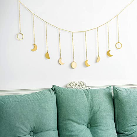 Gold Mkouo Guirlande de phase de lune with Chains Boho Gold Shining Phase Wall Hanging Holiday Ornaments Lune Hang Art Room Decor for Bedroom Living Room Apartment Dorm Nursery Home Office