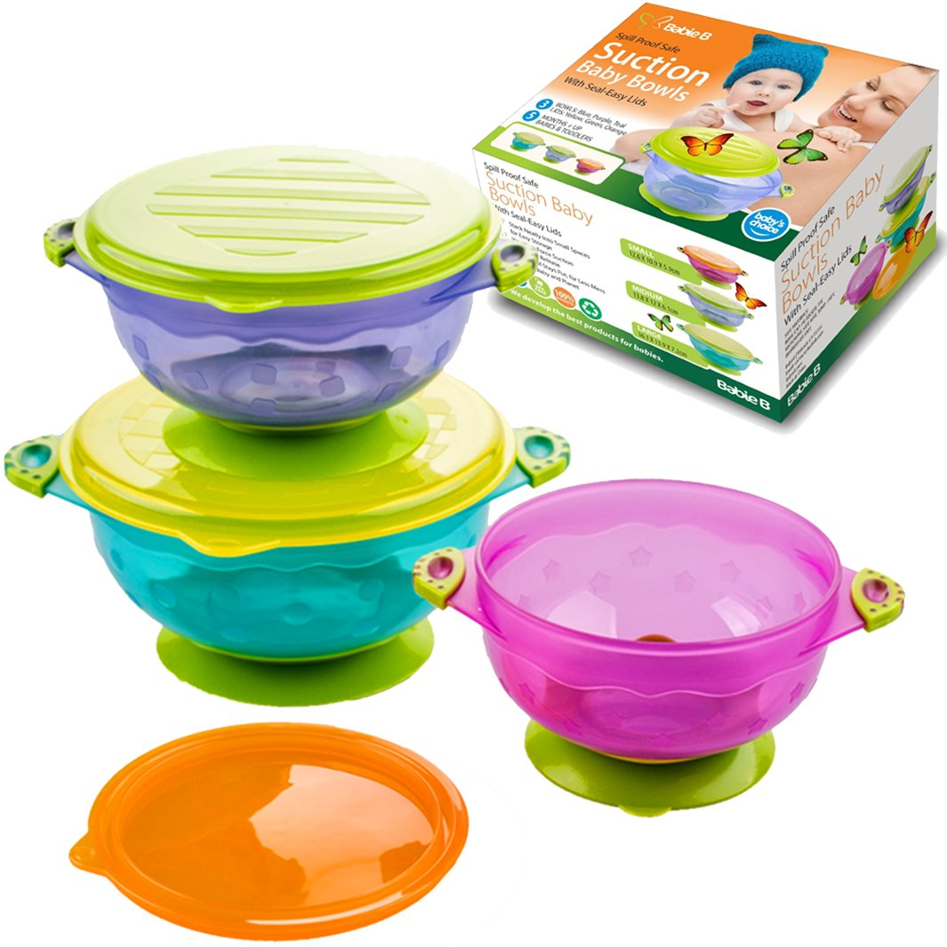 Best Suction Baby Bowls for Toddlers and 6 Months Old Babies, BPA Free, 3 Matching Leak-Proof Lids, for Solid Feeding & Storage, Avoid Food Spills, Less Mess on The Floor, Great Baby Shower Gift Set by Babie B