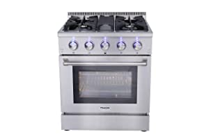 "Thor Kitchen HRG3080U 30"" Freestanding Professional Style Gas Range with 4.2 cu. ft. Oven, 4 Burners, Convection Fan, Cast Iron Grates, and Blue Porcelain Oven Interior, in Stainless Steel"