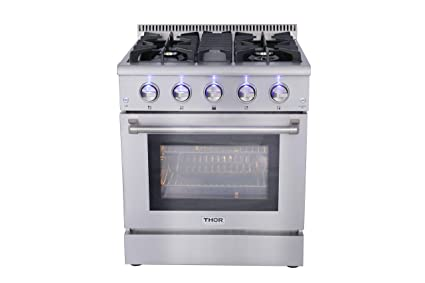 30 gas range samsung thor kitchen hrg3080u 30quot freestanding professional style gas range with 42 cu ft amazoncom 30