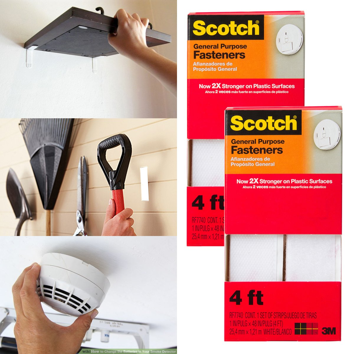 Amazon.com : 2pk 3M Scotch Permanent General Purpose 4ft Fasteners Outdoor Indoor Mounting Strips Tape : Office Products
