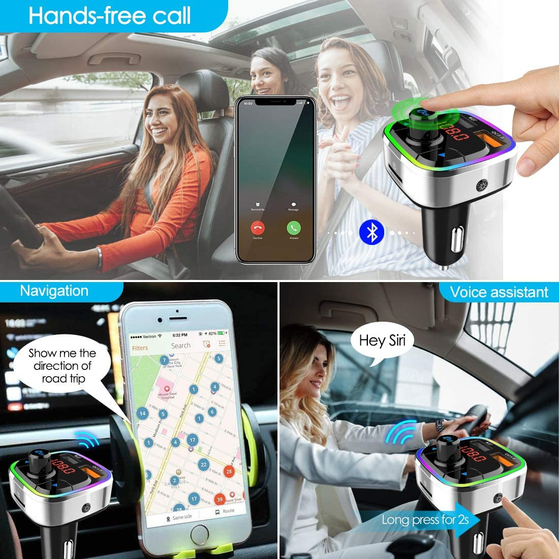 Bluetooth 5.0 Car FM Transmitter,QC3.0 Wireless Bluetooth Car Adapter Mp3 Music Player Car Kit with Hands-Free Calling and 2 USB Charge,LED Backlit,Play TF Card/USB for All Smartphones Audio Players: MP3 Players & Accessories