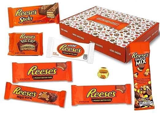 Reeses - Sweet Box - Cesta de regalo | 8 dulces estadounidenses diferentes | Tazas de mantequilla de maní en leche ...