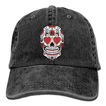 e4aa47eb1807a Image Unavailable. Image not available for. Color  Personality Caps Hats  Sports Denim Cap Sugar Skulls White Women Snapback Casquettes ...