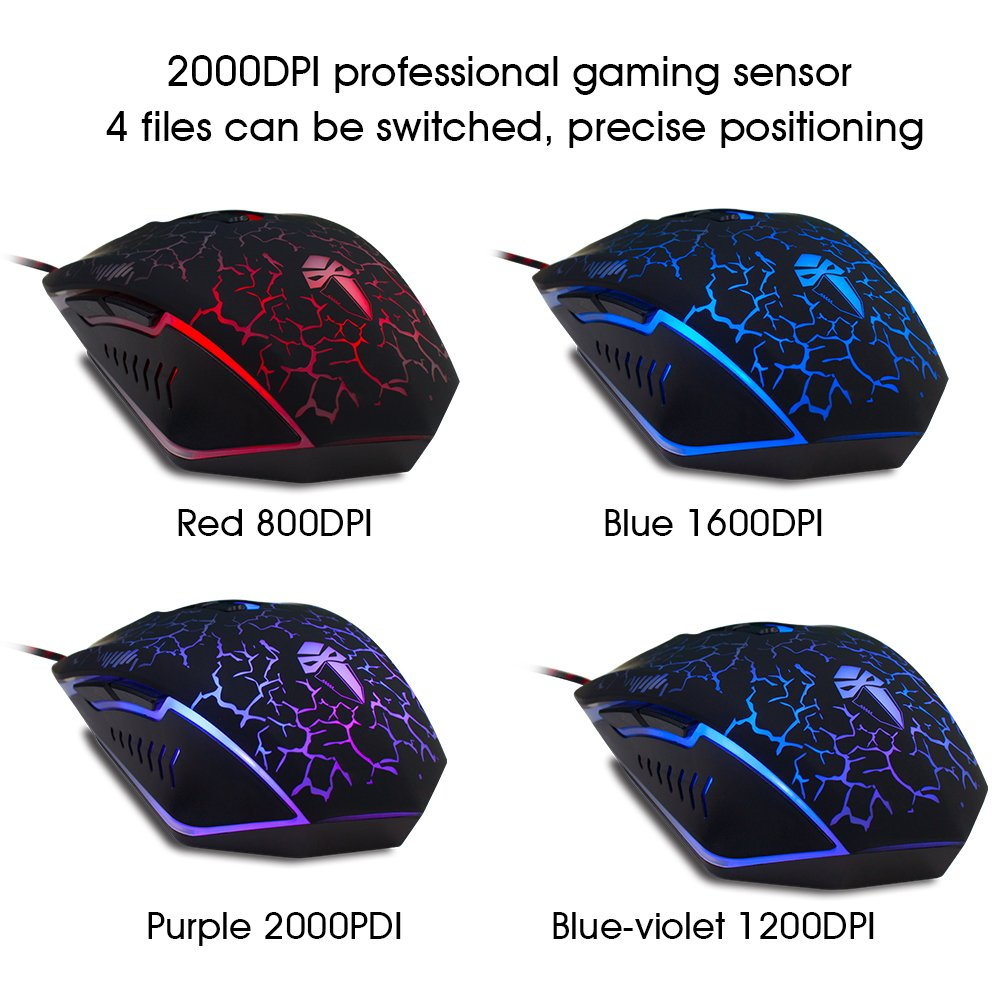 Gaming Mouse,YCCTEAM Ergonomic USB Wired Gaming Mouse Mice with 2000DPI Adjustable High Precision 7 Button LED Optical for Laptop PC Computer Gamer-Black