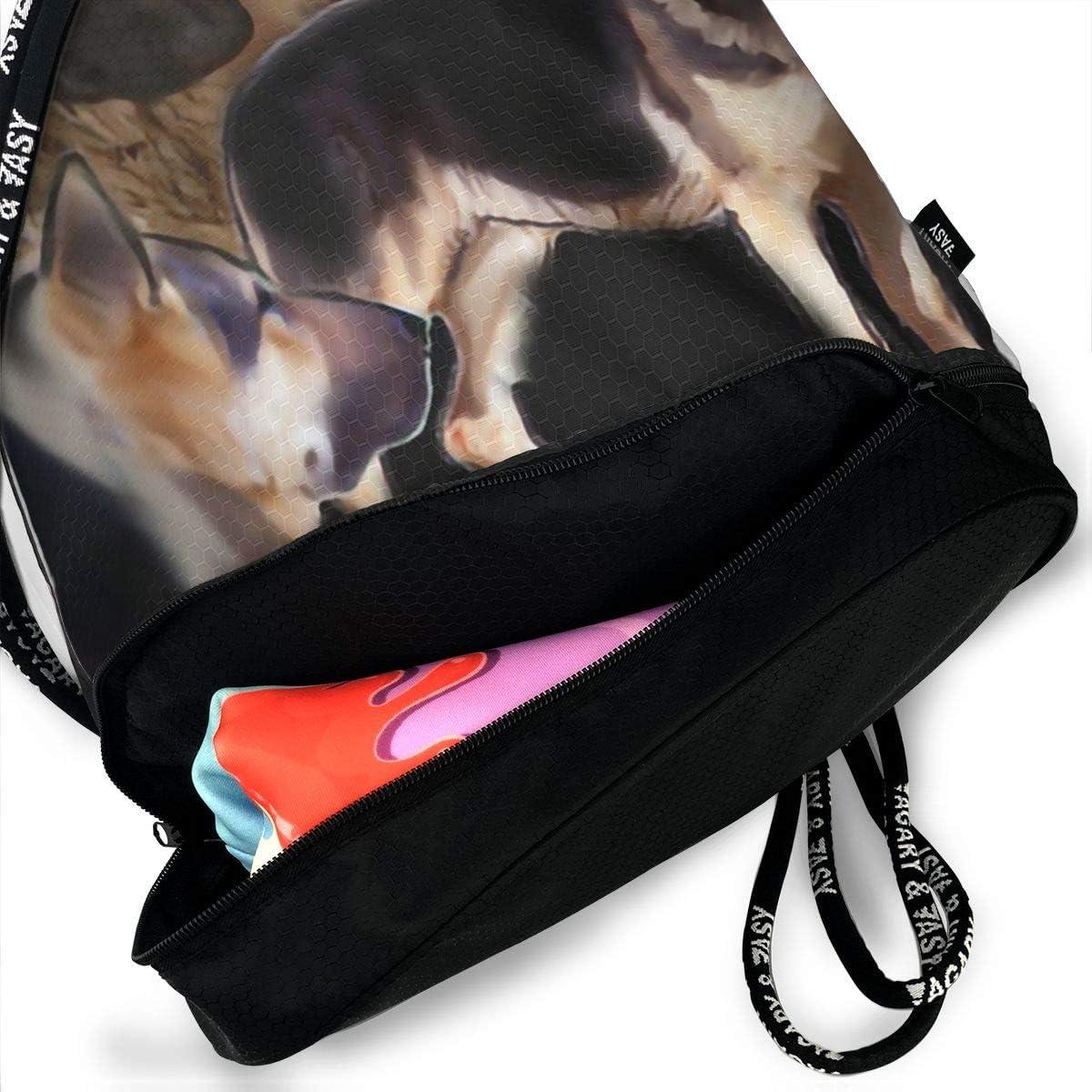 Drawstring Backpack German Shepherd Collage Shoulder Bags