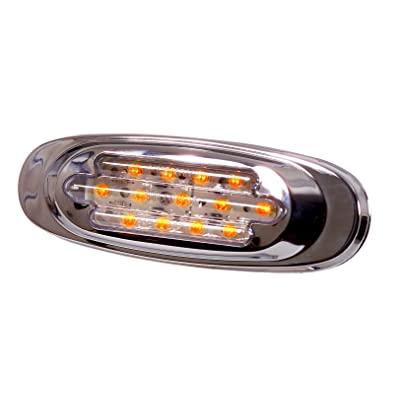 Maxxima M72270YCL Amber LED Clear Lens Oval Clearance Marker Light with Stainless Steel Bezel: Automotive
