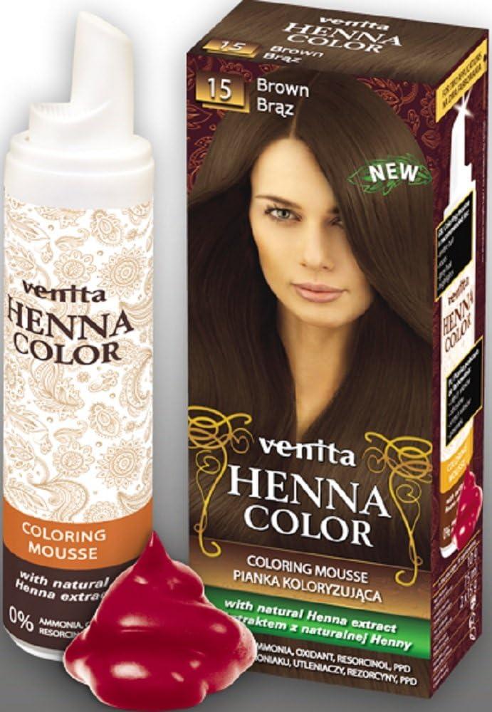 Venita Henna Color Mousse Espuma de Tinte para el Cabello con Extracto Natural de la Alheña. Paquete especial. Marrón (Brown) № 15