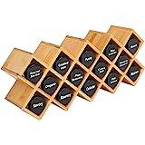 Bamboo Spice Rack Organizer 4-Tier Countertop Organiser, Criss-Cross Kitchen cabinet Free-Standing Countertop Storage Organiz