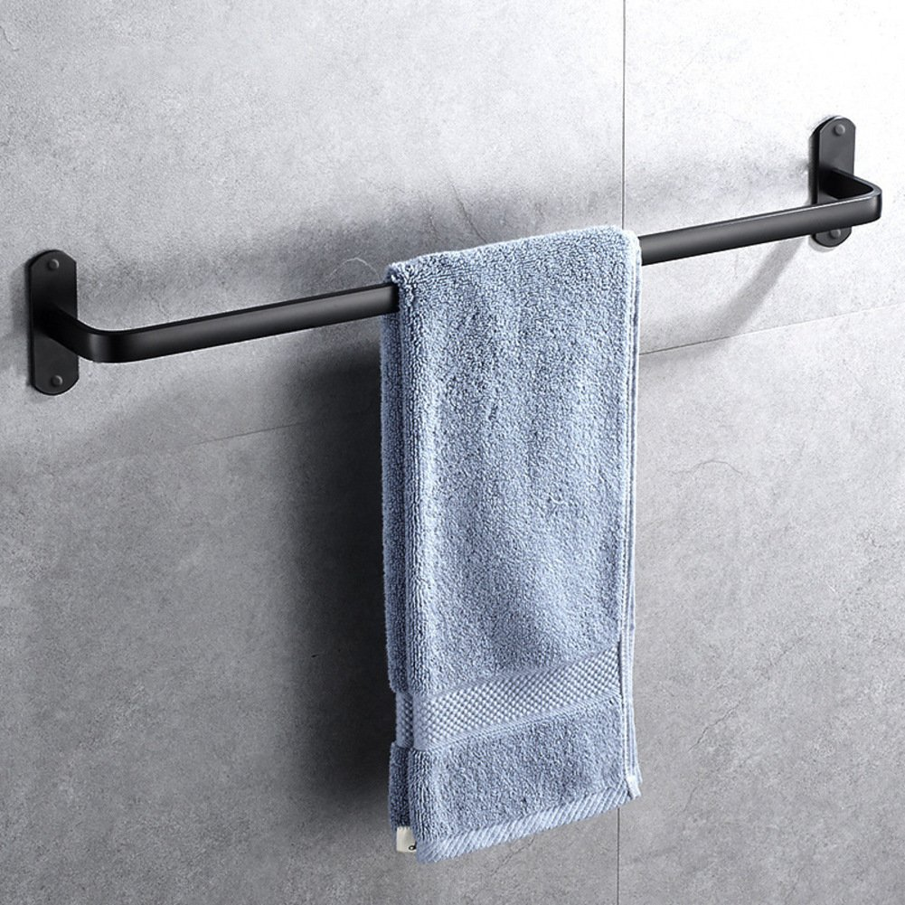 Towel Bar Bathroom hardware pendant adhesive, Drill free towel hanger,Bath towel rack,Wall mount Space aluminum towel pole black-A 50cm(20inch)