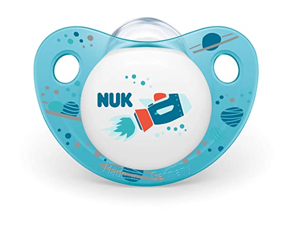 Nuk 10176222 Trendline - Chupete de silicona (forma adaptada a la mandíbula, 6-18 meses, 2 unidades), color azul