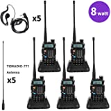 Baofeng Radio 8Watt Ham Radio Dual Band Two Way Radio UHF VHF Walkie Talkies with TIDRADIO-771 Antenna 5 Pack