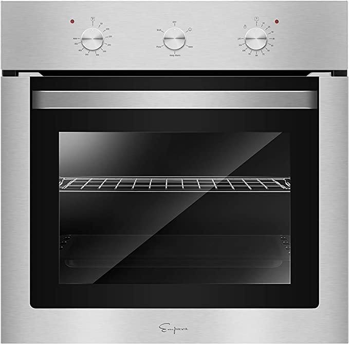 "Empava 24"" Electric Single Wall Oven with Basic Broil/Bake Functions Mechanical Knobs Control in Stainless Steel, 24WO"