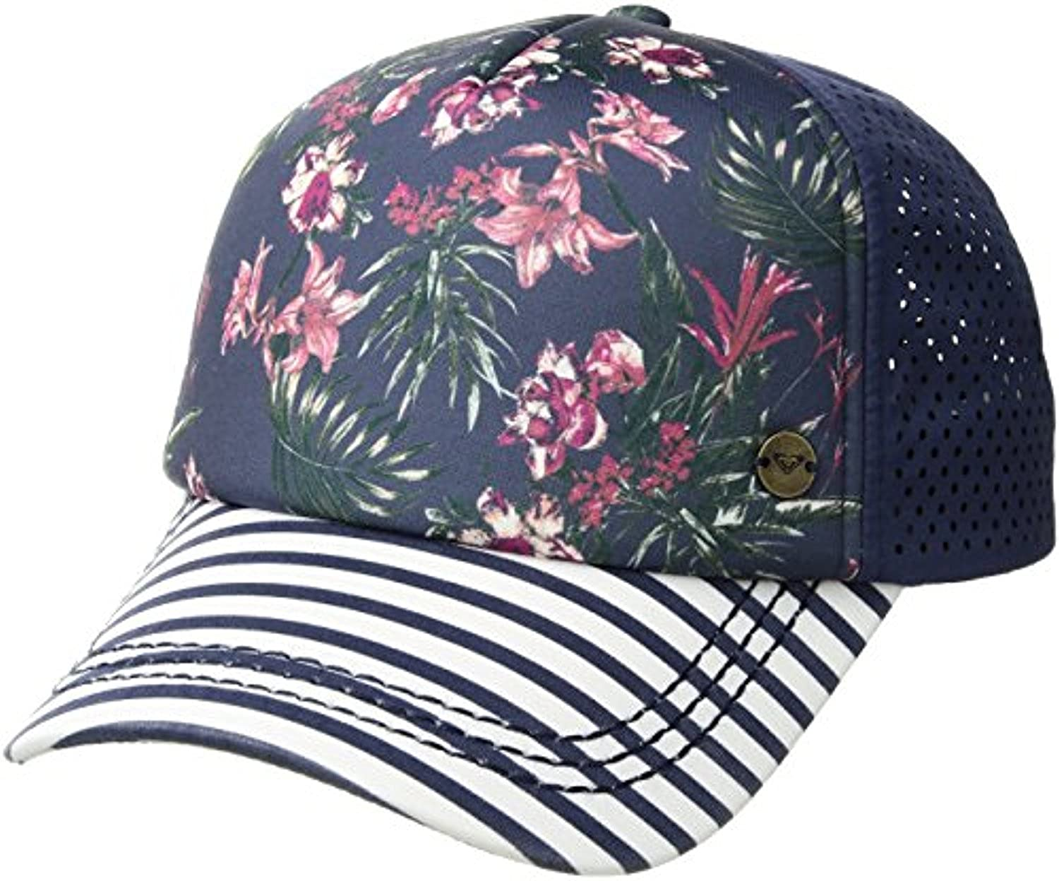 e3072902b589c Roxy Women s Waves Machines Trucker Hat Crown Blue Flower Games 1SZ    Sunlotion at Amazon Women s Clothing store