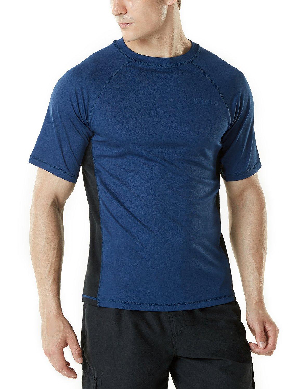 Tesla TM-MSS01-NVK_Large Men's UPF 50+Swim Shirt Loose-Fit Swim Tee Rashguard Top MSS01