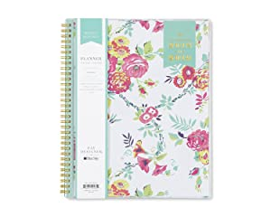 """Day Designer for Blue Sky 2018-2019 Academic Year Weekly & Monthly Planner, Flexible Cover, Twin-Wire Binding, 8.5"""" x 11"""", Peyton White Design"""
