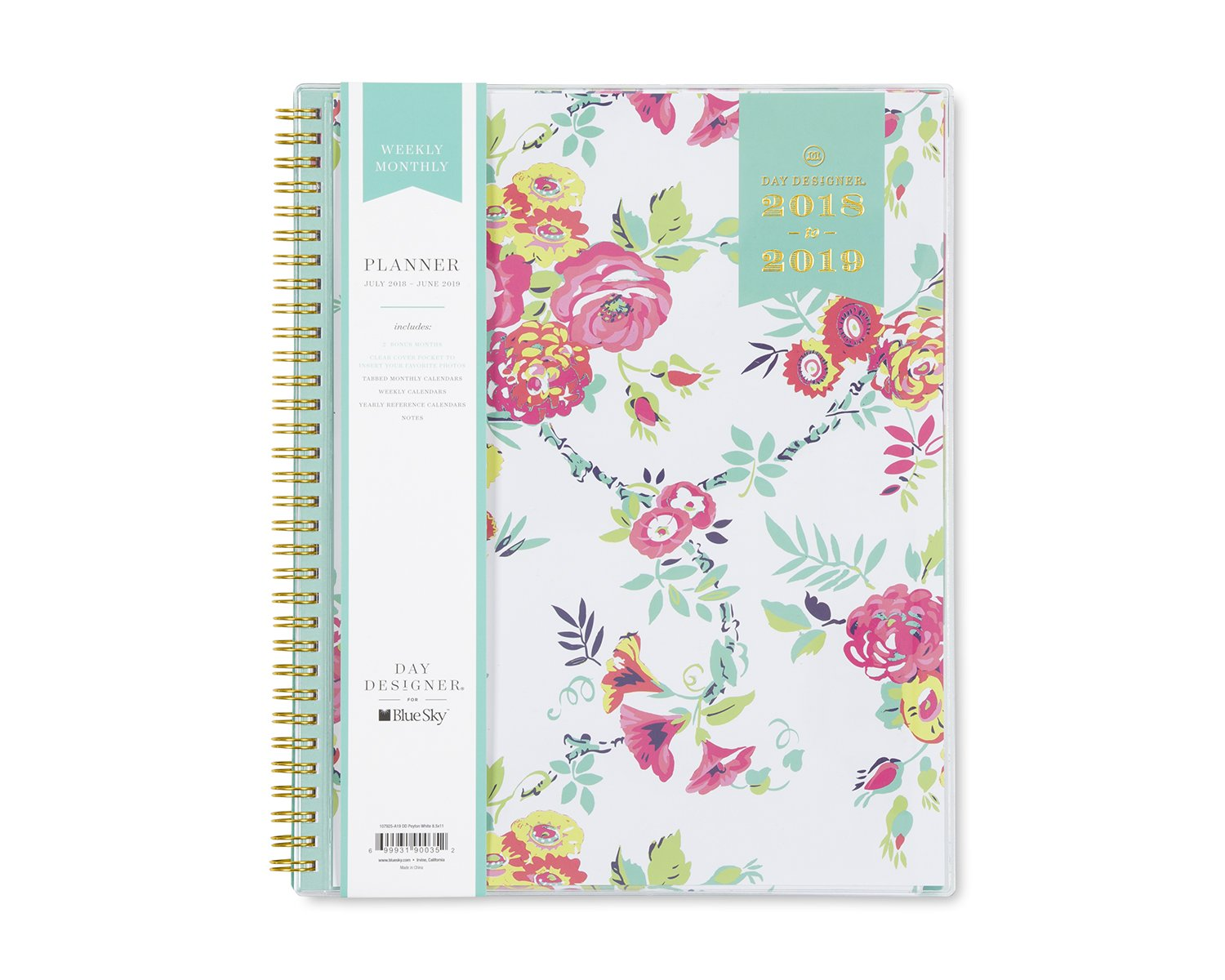 Day Designer for Blue Sky 2018-2019 Academic Year Weekly & Monthly Planner, Flexible Cover, Twin-Wire Binding, 8.5'' x 11'', Peyton White Design