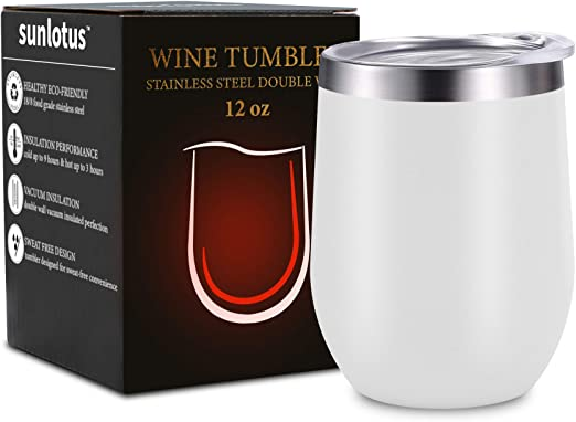 Awoke 12 oz. Liquors Champagne and Nonalcoholic Beverages. for Red Wine Coffee Cocktail Black Stainless-Steel Wine Glass with Lid